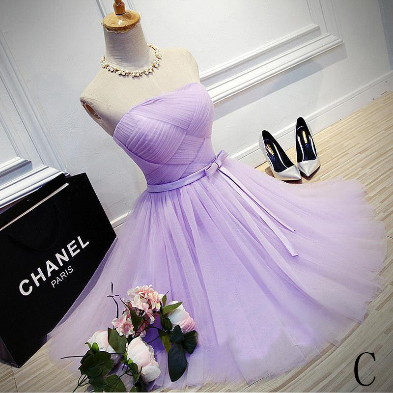 Elegant A-Line Strapless Purple Tulle Short Homecoming Dress with Bowknot OK327
