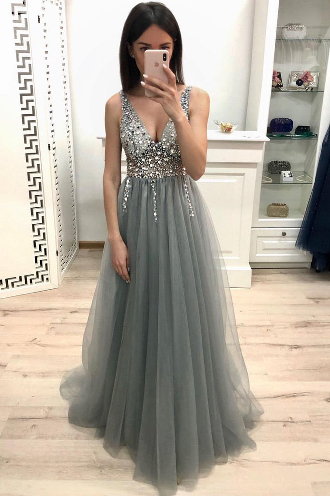 well known how to buy super cheap New A Line V Neck Grey Prom Dresses, Beaded Sequins Prom Dress OKK22