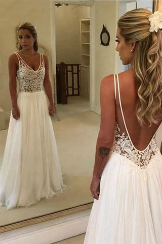 Simple Chiffon Beach Wedding Dresses Sexy Backless V-Neck Lace Applique A-Line Bridal Dress OKW18