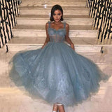 Chic Blue Prom Dress Tea Length Sexy Corset Top Tulle Skirt Party Gowns OKV69