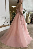 Pink A Line Prom Dresse With Stars Princess Bustier Corset Evening Dress With Pocket OKV70