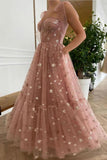 Sparkly Stars Tulle Blush Pink Prom Dresse Shiny Princess Evening Dress With Straps OKV59