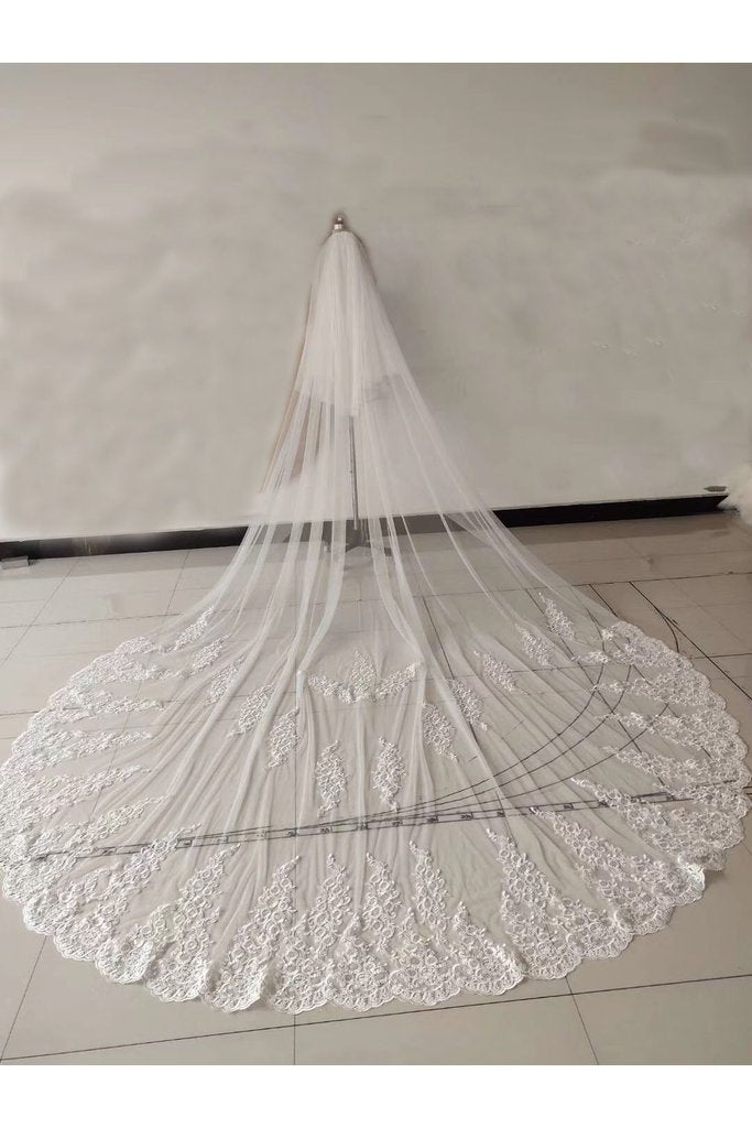 Ivory Lace Appliqued Tulle Wedding Veil, Bridal Veil WV20
