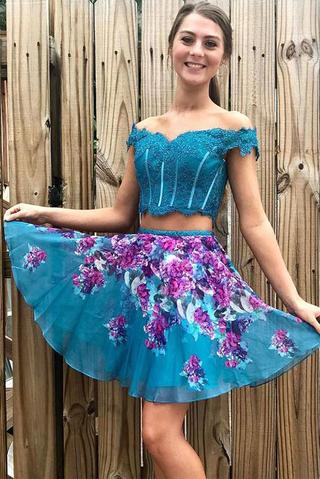 Two Piece Turquoise Off Shoulder Beading Floral Homecoming Dresses OKM33