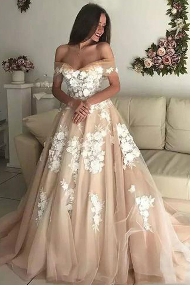 Charming A-Line Off the Shoulder Tulle Long Prom Dresses with White Appliques OKU16