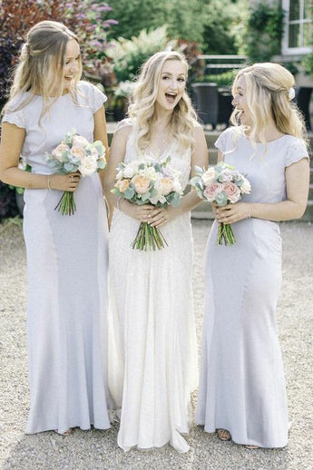 New Arrival Bridesmaid Dress,Sheath Bridesmaid Dresses,Cap Sleeves Bridesmaid Dress,Long Bridesmaid Dress
