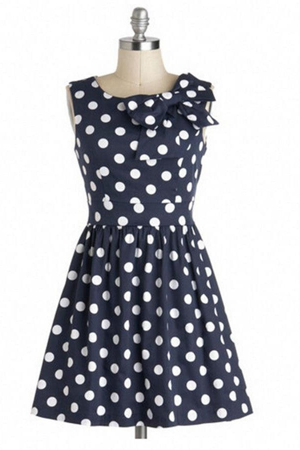 Pretty Cute Handmade Short Vintage Dresses With Bow V11