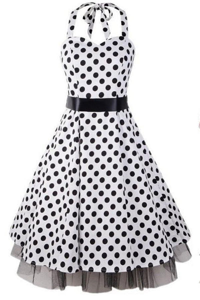 Pretty Halter Classy Polka Dot Vintage Dresses For Girls V12