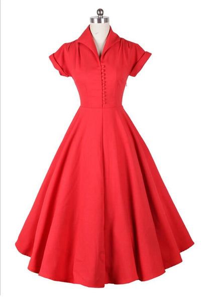 Modest Red High Neck Vintage Dresses With Short Sleeves V13