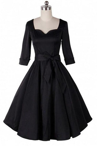 Free Shipping Formal Black Simple Vintage Dresses With Belt V14