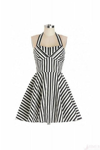 Cute Stripe Halter Handmade Simple Cheap Vintage Dresses V15