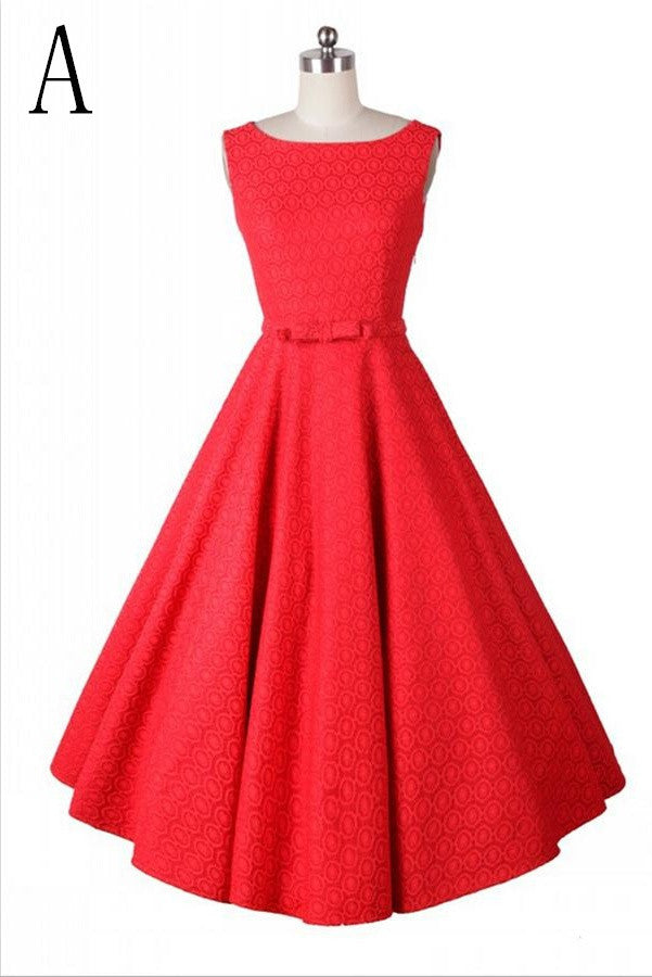 Modest Elegant Beautiful Red High Low Vintage Dresses For Sale V3