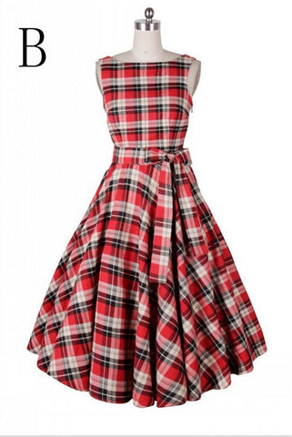 Pretty Simple Plaid Sleeveless Elegant Vintage Dresses For Girls V4