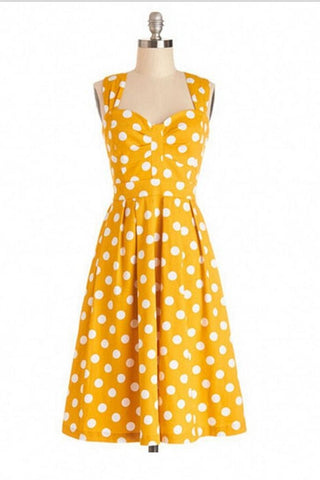 Cute Polka Dot Handmade Short Summer Vintage Dresses V6