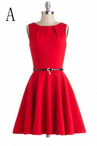 Light Red Short Simple Handmade Beautiful Vintage Dresses V8
