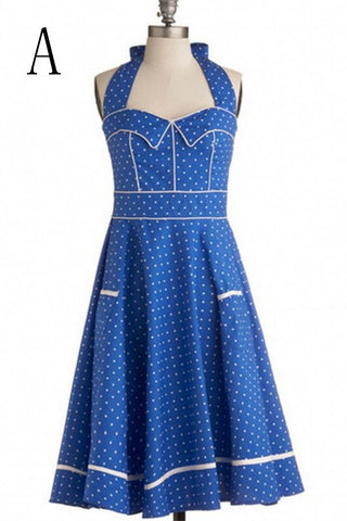 Real Beautiful Handmade Cute Halter Polka Dot Vintage Dresses V9