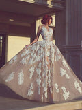 A-line Long Appliques Wedding Dress,Charming Sleeveless Prom Dress OK779