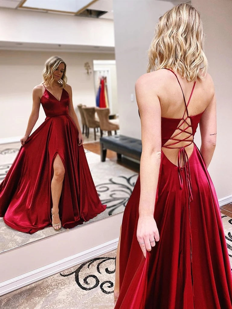 V Neck Burgundy Long Prom Dresses With Slit, Formal Evening Dresses OKT34