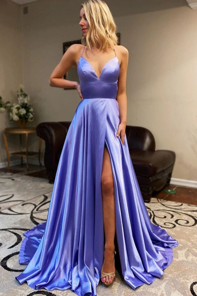 Spaghetti Straps Long Prom Dresses, A Line Simple Formal Evening Dresses OKT33
