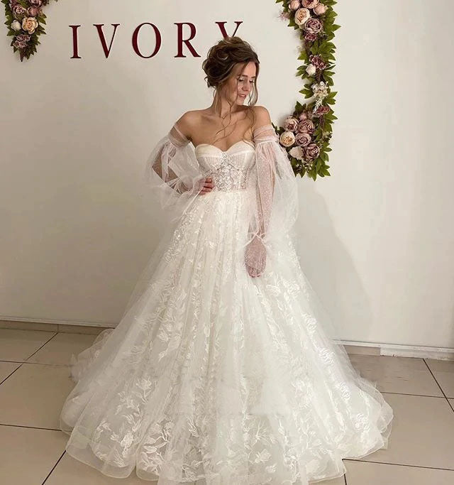 Lace Floral Puff Sleeve Wedding Dress Sweetheart Long Train Bride Gowns Corset Back OKV20