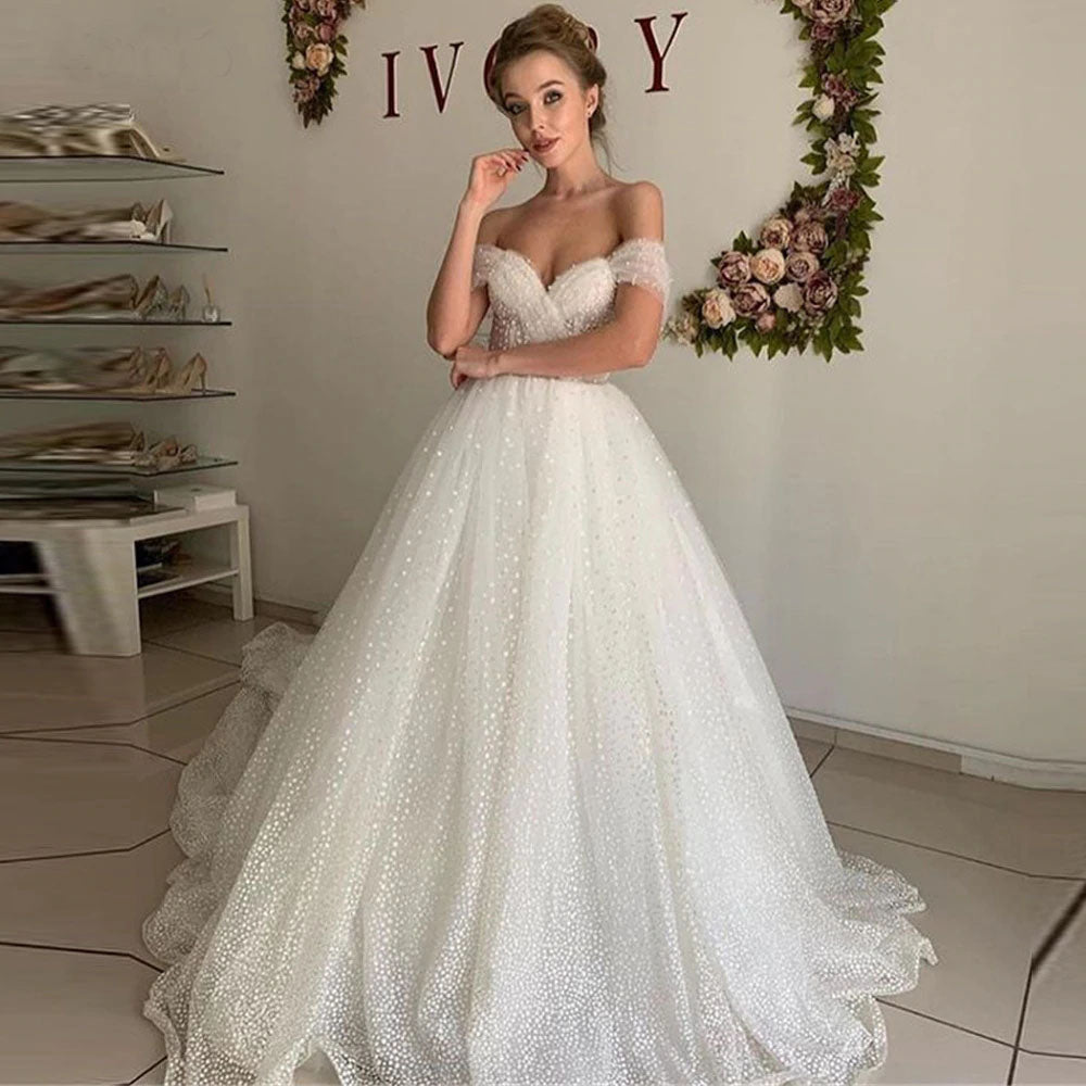 Glitter Tulle A Line Princess Wedding Dress Off the Shoulder Elegant Bridal Gowns OKV60