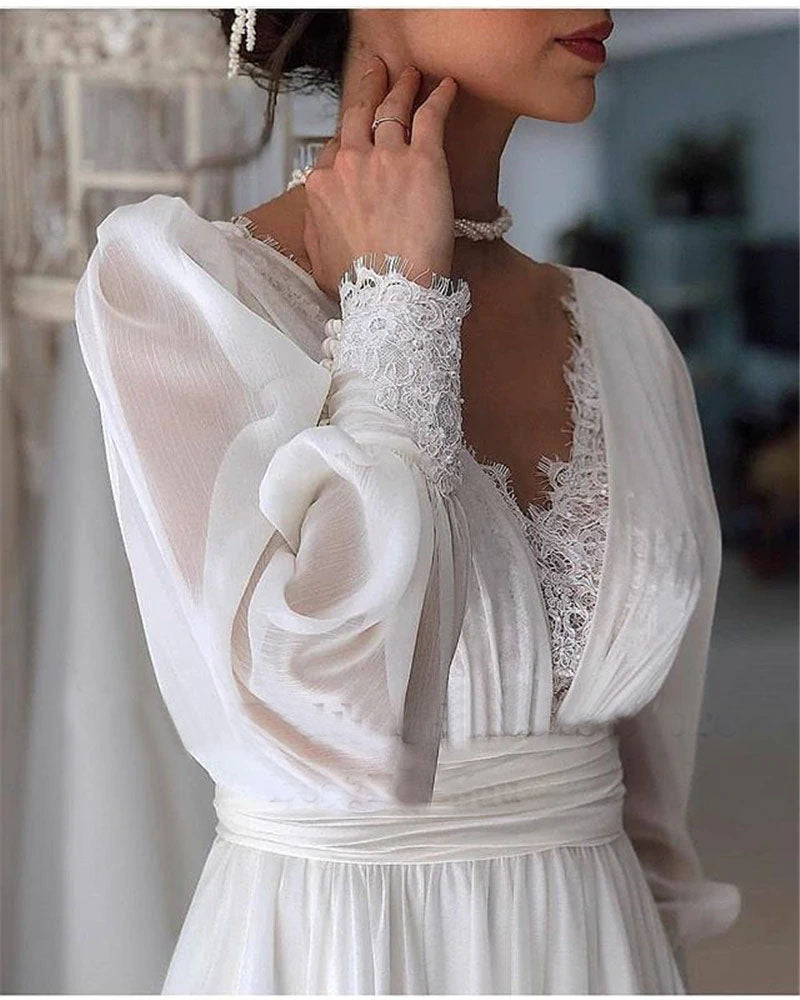 Vintage Long Sleeves Wedding Dresses Chiffon A Line V Neck Bride Gowns OKV59