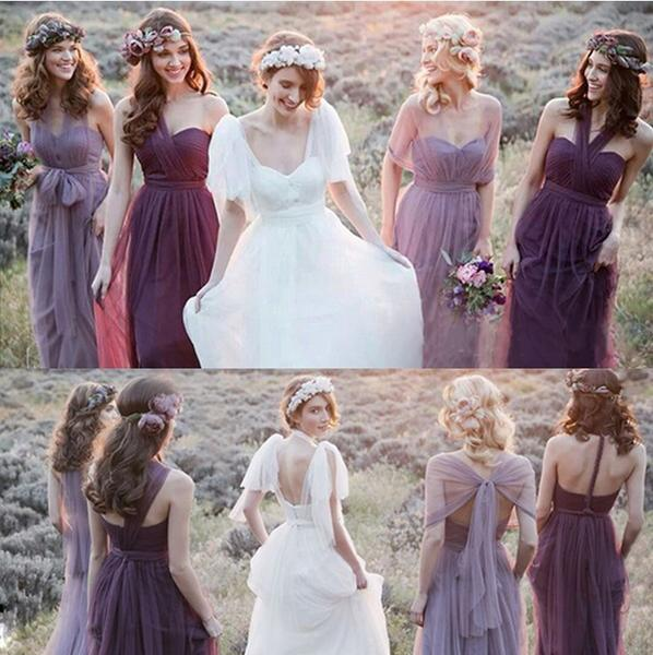 Fashion Mismatched Tulle Long Wedding Party Dresses Cheap Charming Bridesmaid Dresses OK447
