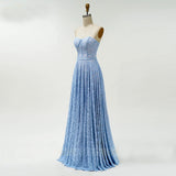 Blue Long Evening Dresses Lace Bodice Formal Dress Sweetheart Neck A line Prom Dress OKW45