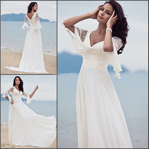 A Line V-neck Chiffon Lace Short Sleeves Beach/Coast Wedding Dresses ...