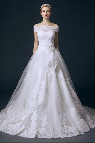 Boat Neck Long Ball Gown Big Wedding Dress With Flower – Okdresses