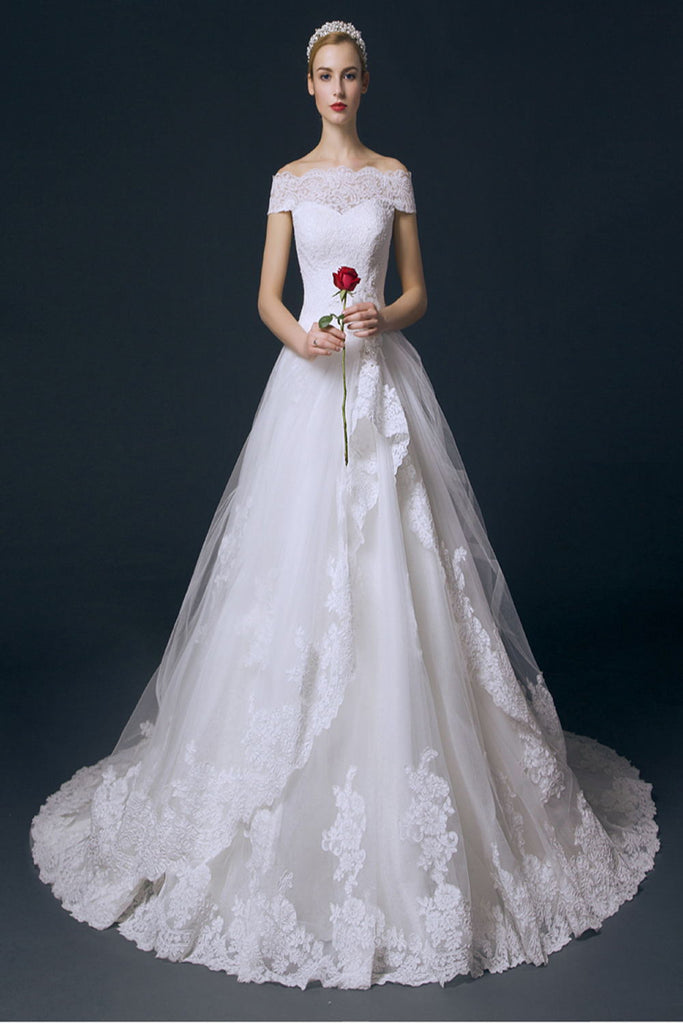 Boat Neck Long Ball Gown Big Wedding Dresses With Flower W11
