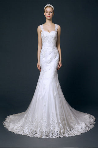 Charming Long Mermaid Lace Wedding Dresses With Straps W12