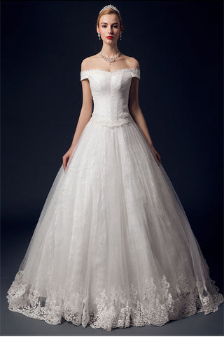 Off Shoulder Long Big Ball Gowns Wedding Dresses For Women W15