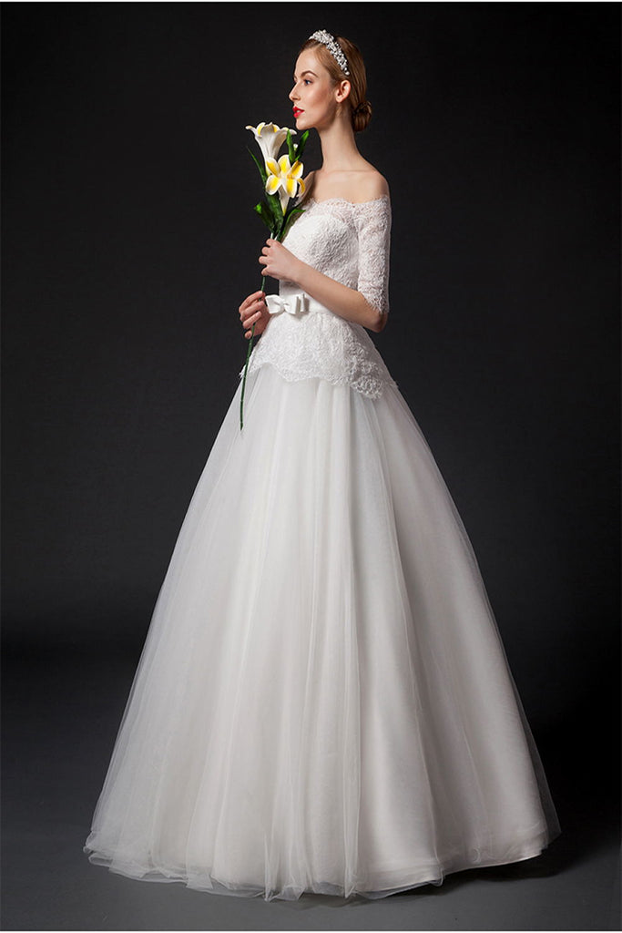Modest Elegant Big Puffy Lace Wedding Dresses With Sleeves W16
