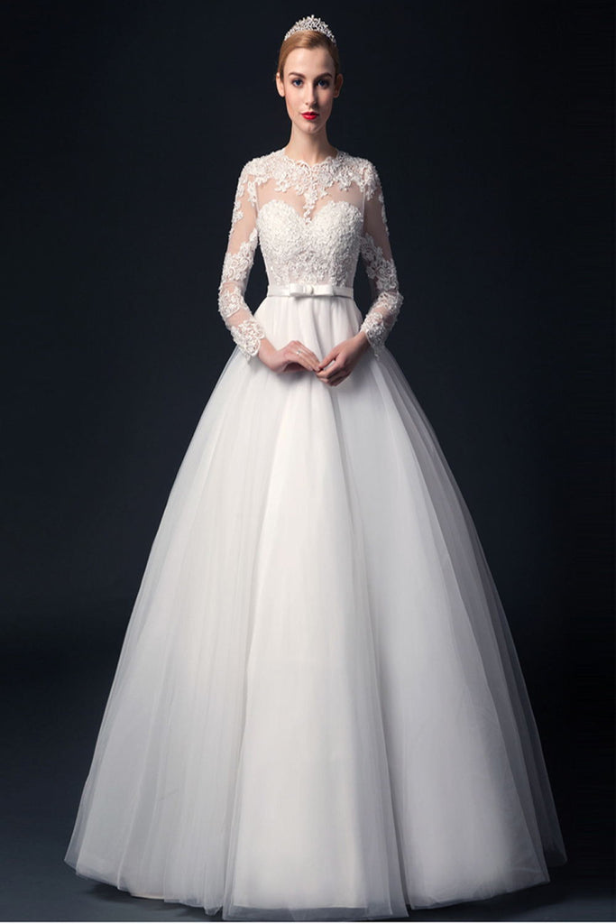 Elegant Handmade Puffy Long Sleeves Lace Wedding Dresses W19