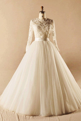 Modest Long Sleeves Ball Gown Big Lace Wedding Dresses W1