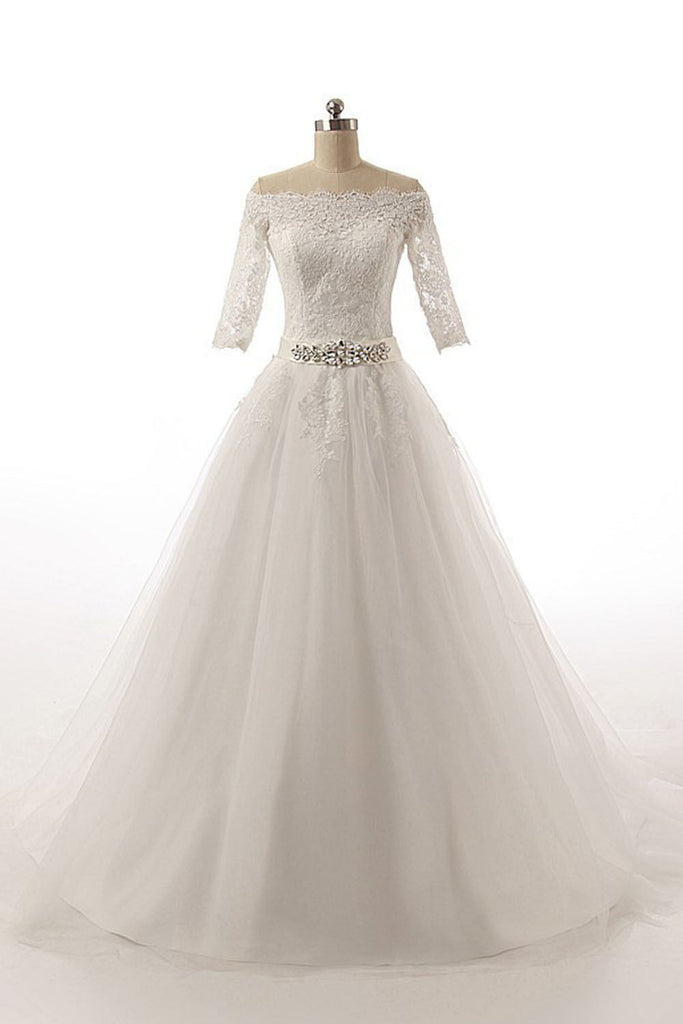 Half Sleeves Long Ball Gowns Bodice Lace Wedding Dresses W3