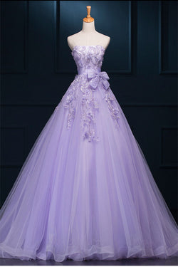 2016 Strapless Long Purple Lace Big Wedding Dress With Bow W4