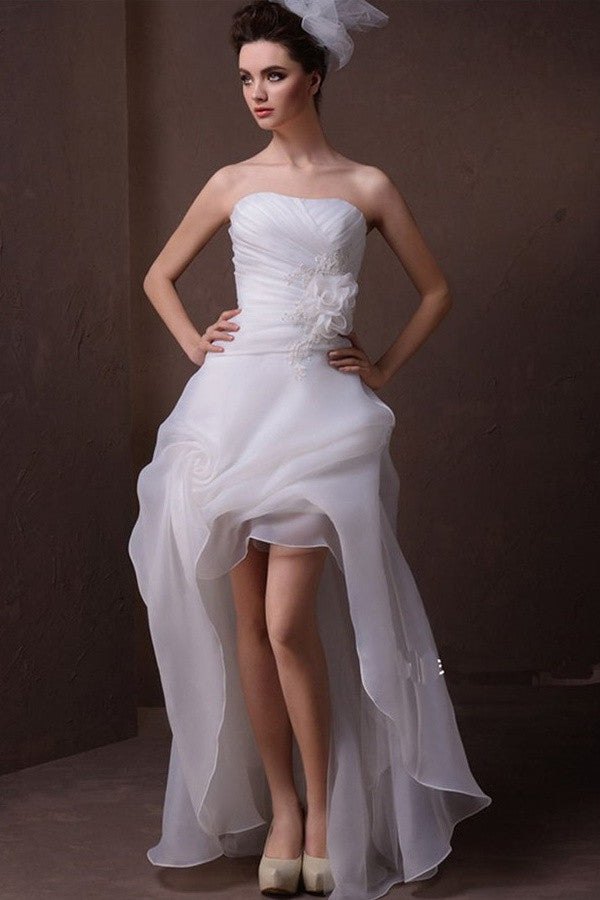 Short Front Long Back Elegant Strapless Beach Wedding Dresses W9