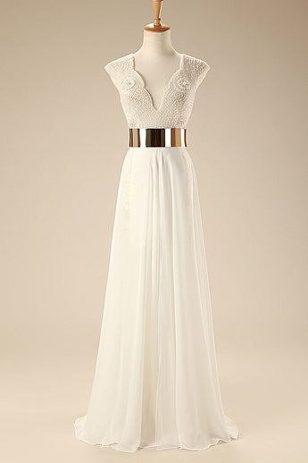 Deep V Neck Cap Sleeves White Chiffon Gold Belt Summer Beach Wedding Dress WD0106
