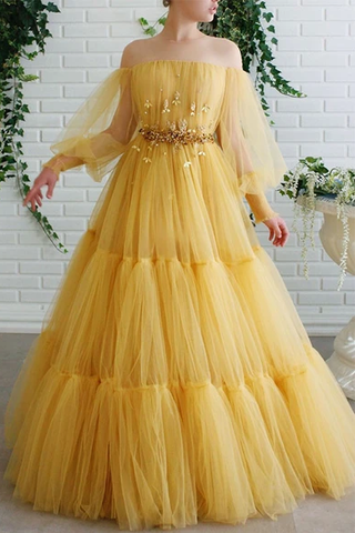 A-line Off-the-shoulder Yellow Tulle Long Prom Dresses Evening Dress OKS56