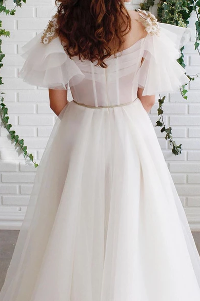 A-line Off White Short Sleeves Long Prom Dresses Organza Evening Dress OKS57