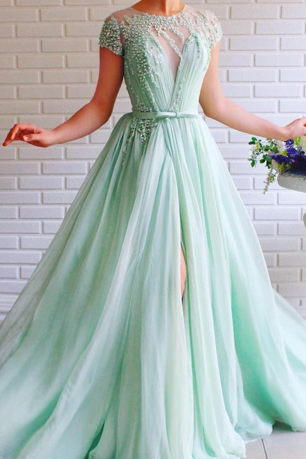 A-line Mint Green Long Cheap Prom Dresses Beading Tulle Evening Dress OKS99