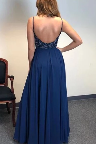 A-line Spaghetti Straps Dark Blue Chiffon Long Prom Dresses Beaded Evening Dress OKS96