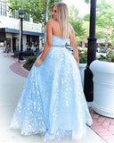 Stunning A-line Strapless Sky Blue Lace Beaded Long Prom Dresses Evening Dress OKT2