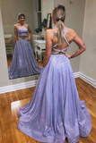 A-line Two Pieces Spaghetti Straps Sparkly Long Prom Dresses Evening Dress OKT3