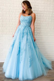 New Arrival A-line Spaghetti Straps Lace Appliques Long Blue Prom Dresses OKT5