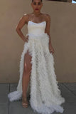 A-line Strapless White Tulle Ruffles Long Prom Dresses With Slit OKT17
