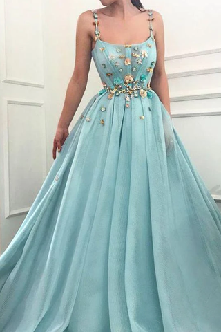 A-line Spaghetti Straps Flowers Long Prom Dresses Tulle Evening Dress OKT6