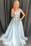 A-line V neck Long Blue Appliques Light Blue Prom Dresses Evening Dress OKT10